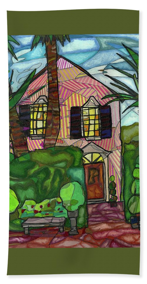 House Beach Towel featuring the drawing House Of Pink by Michelle Brooksbank