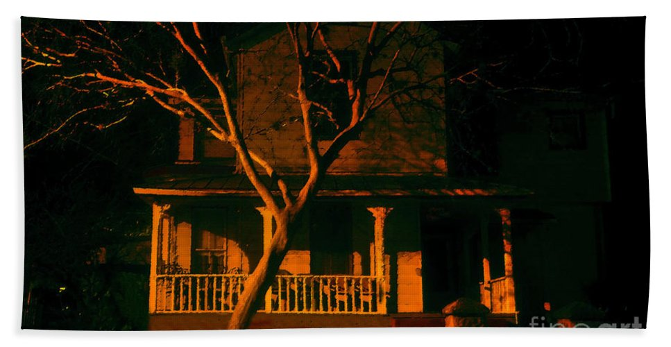 Haunted House Beach Towel featuring the painting House On Haunted Hill by David Lee Thompson