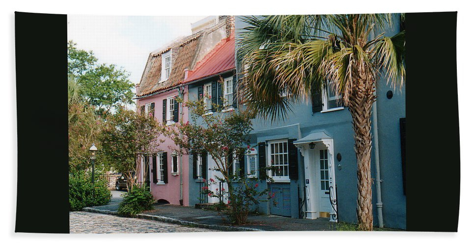 Photography Beach Towel featuring the photograph Houses In Charleston Sc by Susanne Van Hulst