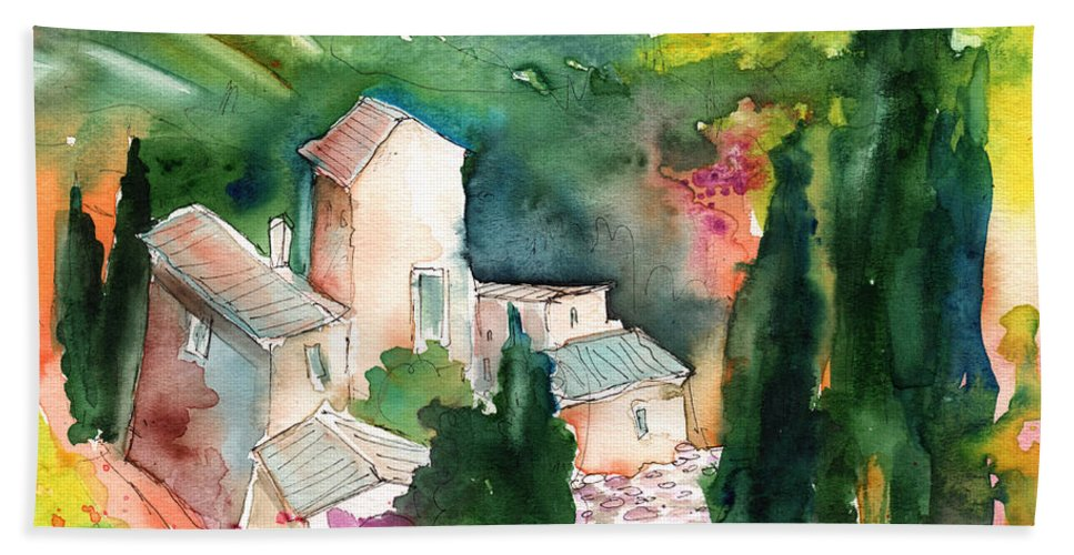 Landscapes Beach Towel featuring the painting Houses In Montepulciano In Tuscany 01 by Miki De Goodaboom