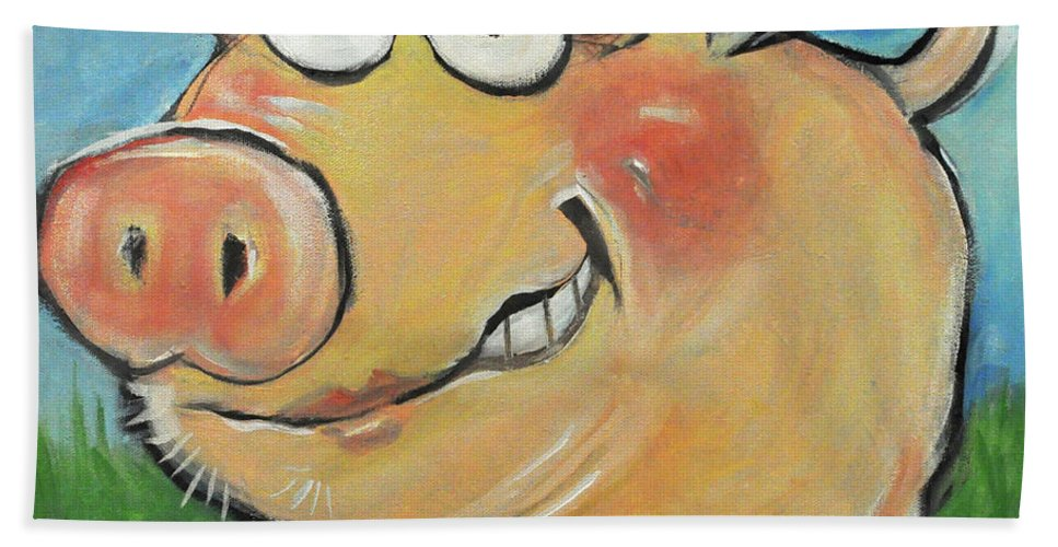 Pig Beach Towel featuring the painting Hovering Pig by Tim Nyberg