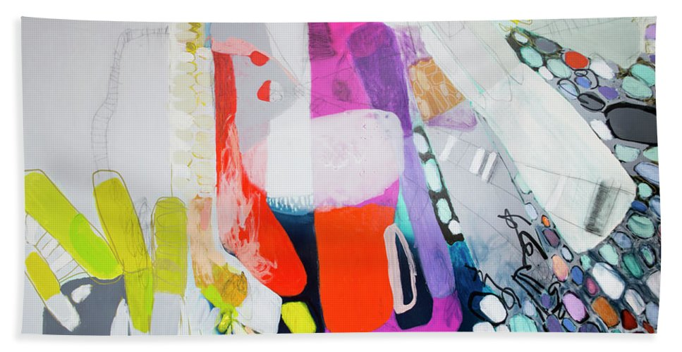 Abstract Beach Towel featuring the painting How Many Fingers? by Claire Desjardins