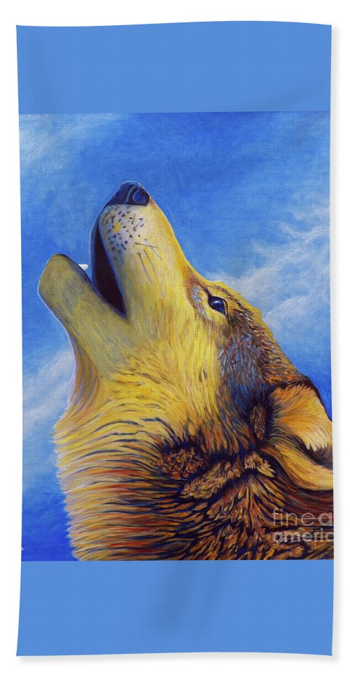 Wolf Beach Towel featuring the painting Howl by Brian Commerford