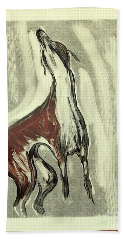 Monotype Beach Towel featuring the mixed media Howling For Joy by Cori Solomon