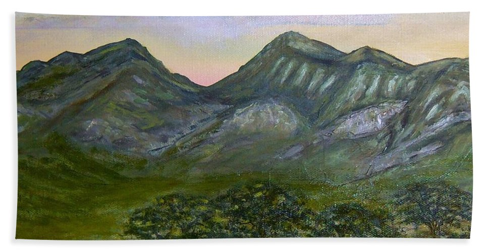Mountains Beach Towel featuring the painting Huachuca Moutians by Gloria Sousa