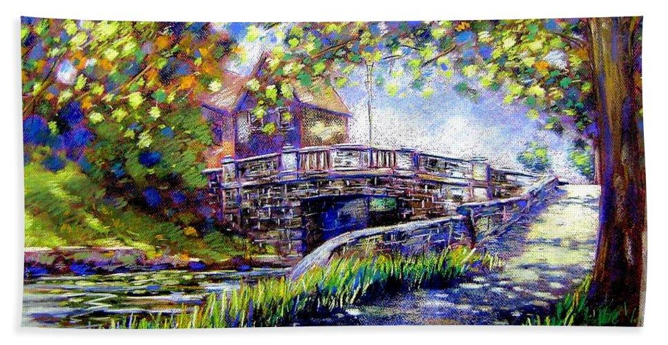 Pastel Beach Towel featuring the pastel Huband Bridge Dublin City by John Nolan