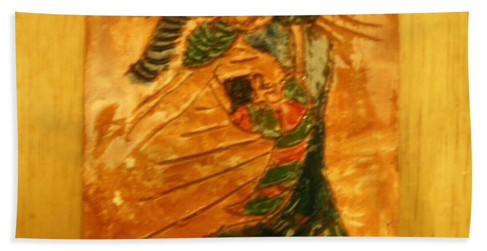 Jesus Beach Towel featuring the ceramic art Hugs - Tile by Gloria Ssali