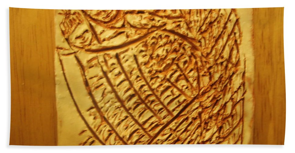 Jesus Beach Towel featuring the ceramic art Hugtime - Tile by Gloria Ssali