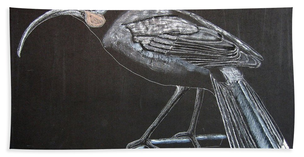 Huia Beach Towel featuring the painting Huia by Richard Le Page