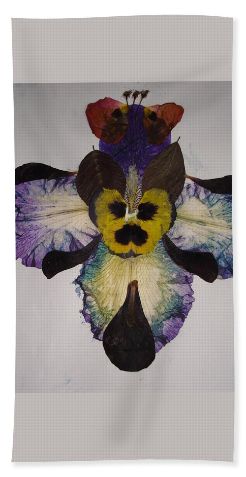 Flower-vision Beach Towel featuring the mixed media Human Insect by Basant Soni