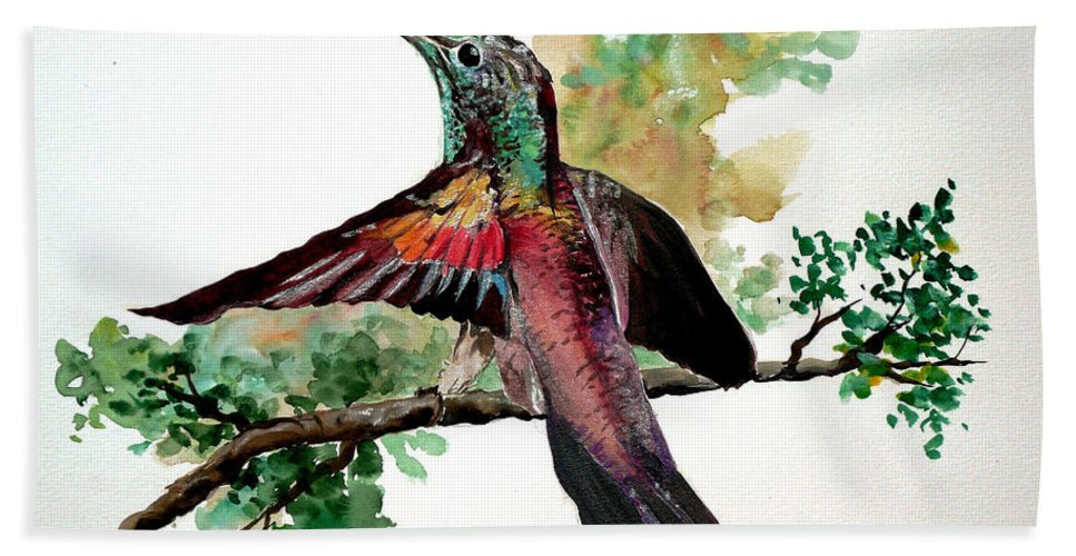Humming Bird Painting Bird Painting  Tropical Painting Caribbean Painting Greeting Painting Beach Towel featuring the painting Hummingbird 5 by Karin Dawn Kelshall- Best