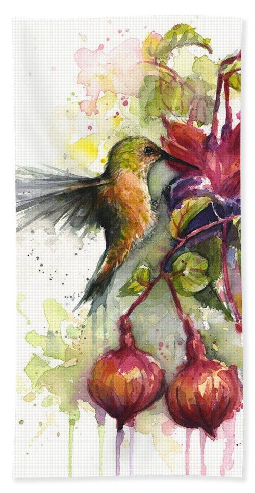Hummingbird Beach Towel featuring the painting Hummingbird and Fuchsia by Olga Shvartsur