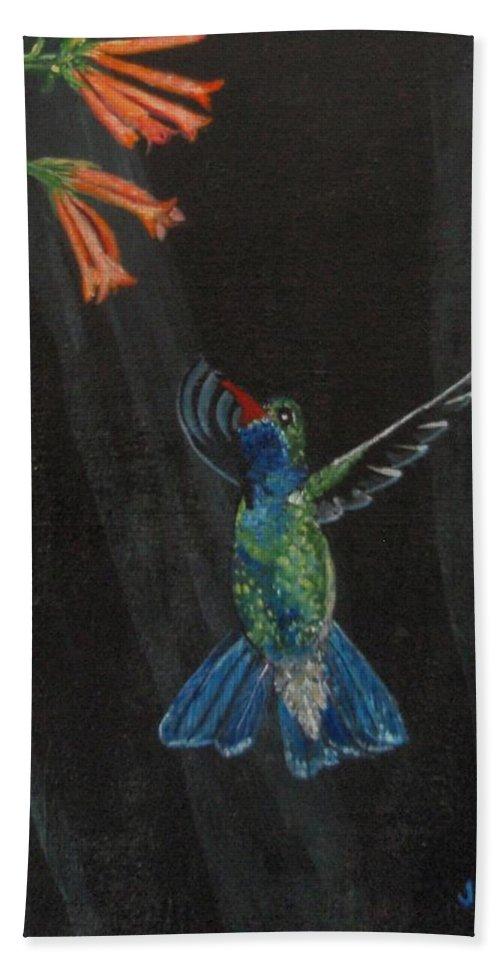 Hummjingbird Beach Towel featuring the painting Hummingbird by Jamie Frier