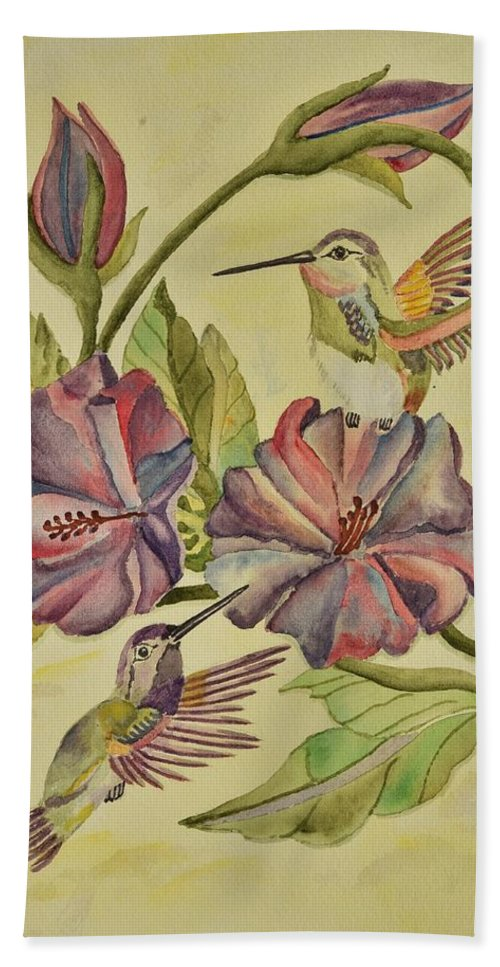 Linda Brody Beach Towel featuring the painting Hummingbirds And Hibiscus by Linda Brody