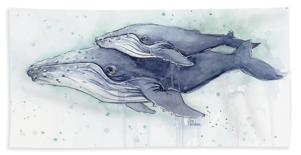 Whale Beach Towel featuring the painting Humpback Whales Painting Watercolor - Grayish Version by Olga Shvartsur