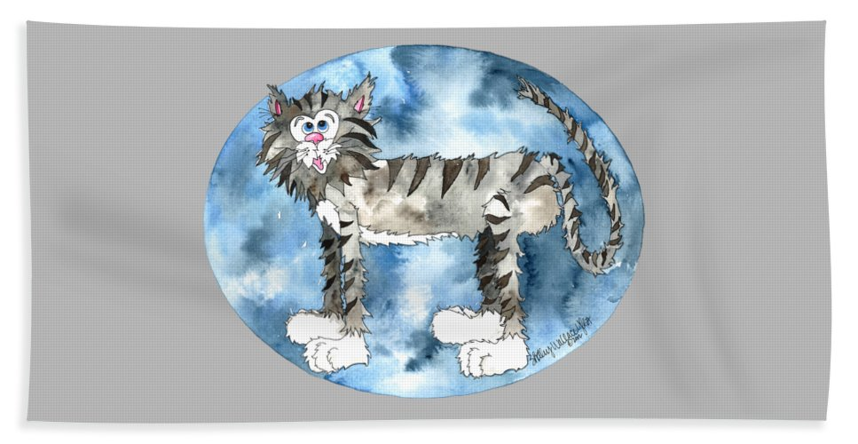 Cat Beach Towel featuring the painting Humphrey by Shelley Wallace Ylst