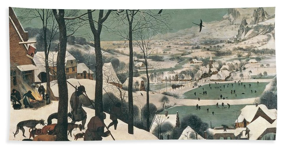 Hunters Beach Towel featuring the painting Hunters In The Snow by Pieter the Elder Bruegel