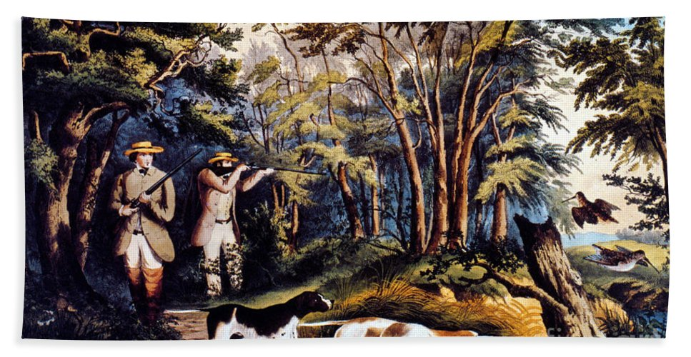 19th Century Beach Towel featuring the photograph Hunting: Woodcock, 1852 by Granger