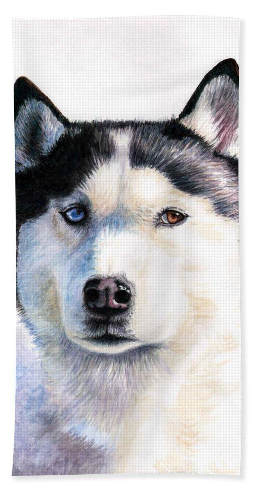 Dog Beach Sheet featuring the painting Husky Blue by Nicole Zeug