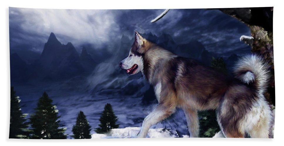 Husky Beach Towel featuring the painting Husky - Mountain Spirit by Carol Cavalaris
