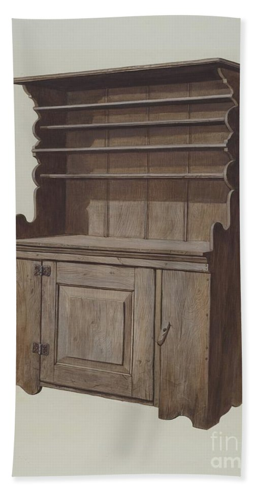 Beach Towel featuring the drawing Hutch Dresser by Leslie Macklem