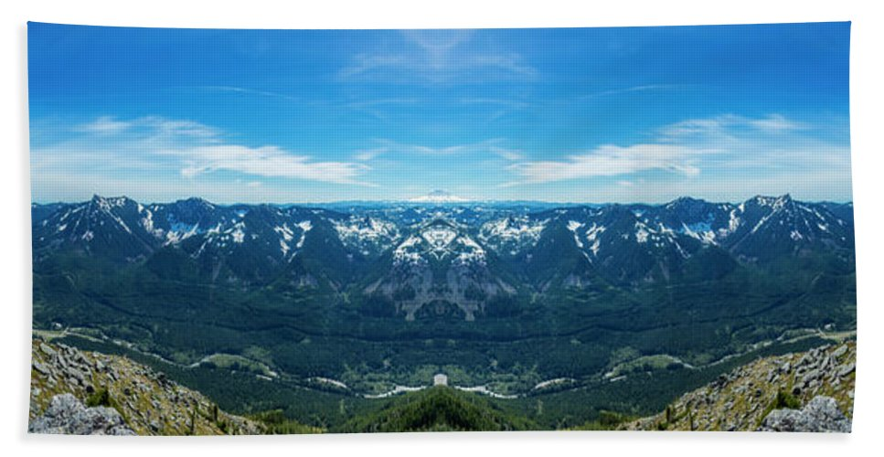 I-90 Corridor Washington State Bandera Mountain Rainier Freeway Winding Valley Pacific Northwest Outdoors Explore View Views Quest Live Authentic Outbound Wilderness Panorama Reflection Mirror Beach Towel featuring the photograph I-90 Corridor Reflection by Pelo Blanco Photo