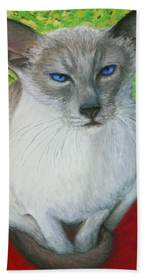 Siamese Beach Towel featuring the painting I Am Siamese if you Please by Minaz Jantz