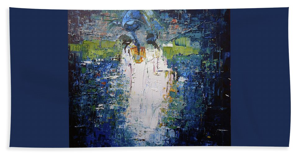 Figure Beach Towel featuring the painting I Am With You by Lawani Sunday