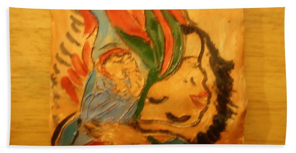 Jesus Beach Towel featuring the ceramic art I Love You - Tile by Gloria Ssali