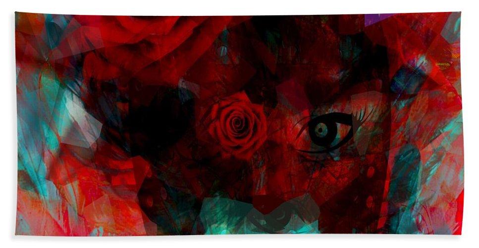 Fanou Beach Towel featuring the digital art I Named You Rose by Fania Simon
