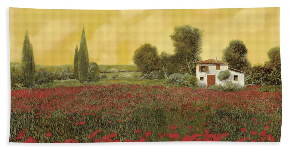 Summer Beach Towel featuring the painting I Papaveri E La Calda Estate by Guido Borelli