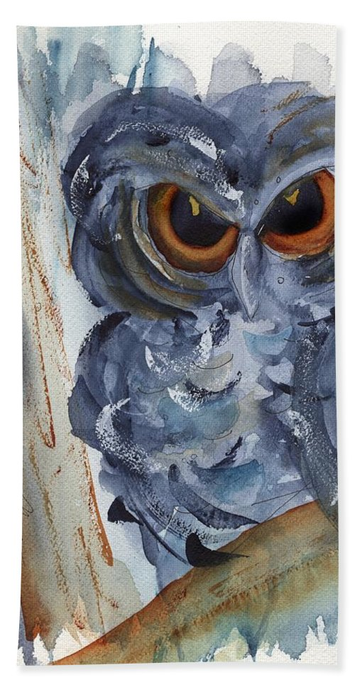 Owl Beach Towel featuring the painting I See You by Dawn Derman