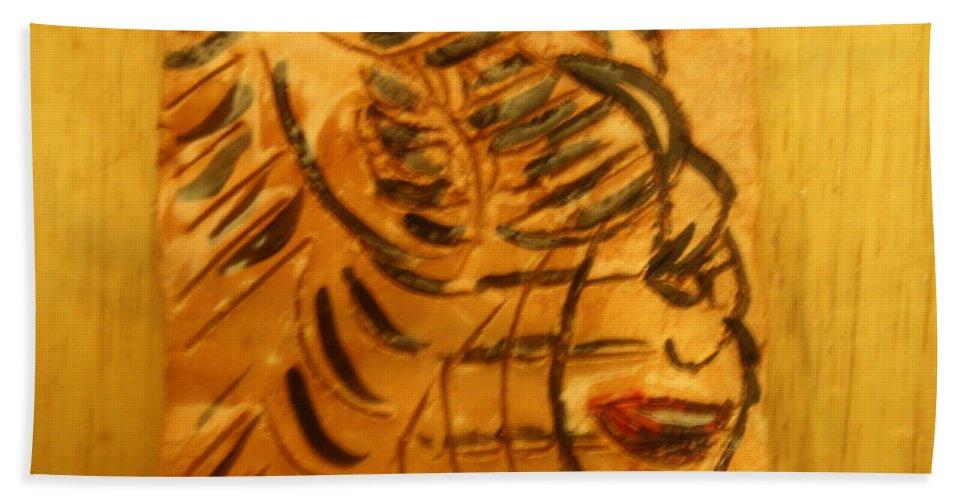 Jesus Beach Towel featuring the ceramic art I Spy - Tile by Gloria Ssali