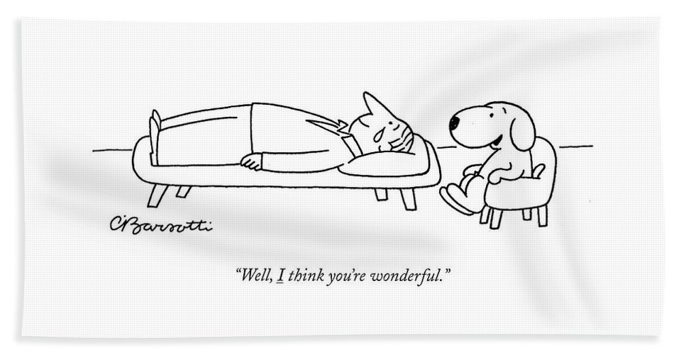 """well Beach Sheet featuring the drawing I Think You Are Wonderful by Charles Barsotti"