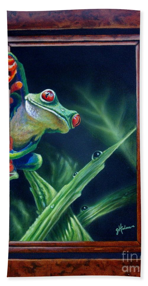Green Tree Frog Beach Towel featuring the painting 'i Was Framed' by Greg and Linda Halom