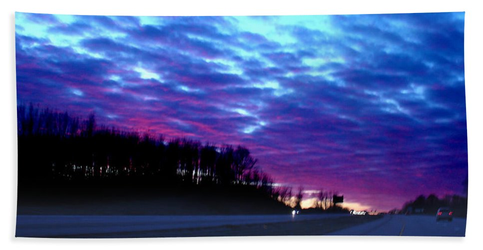 Landscape Beach Sheet featuring the photograph I70 West Ohio by Steve Karol