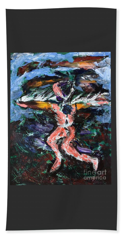 Icarus Beach Towel featuring the painting Icarus by Uwe Hoche