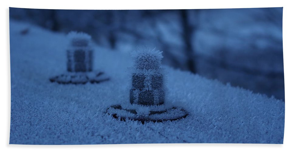 Ice Beach Towel featuring the photograph Ice Bolts by Cindy Johnston