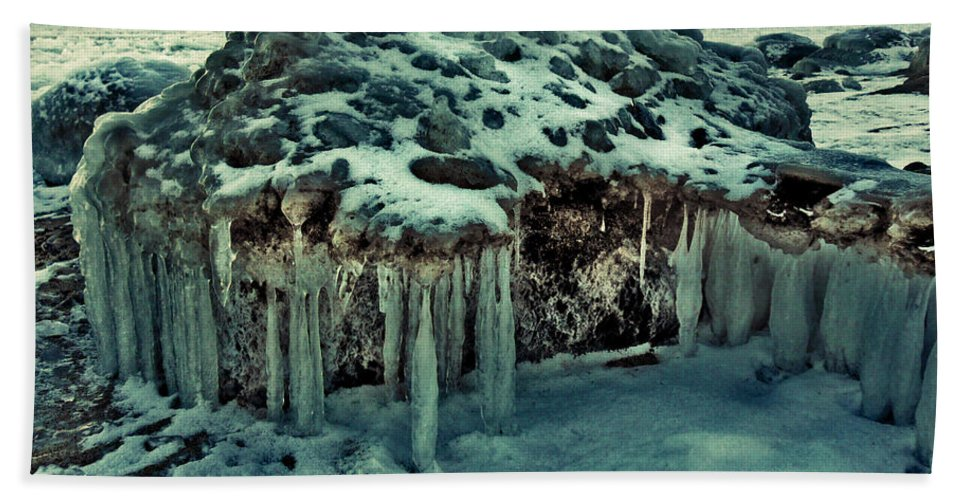 Ice Beach Towel featuring the photograph Ice Cave Of Stones by MarianaEwa Asklof