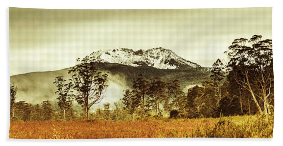 Tasmania Beach Towel featuring the photograph Ice Covered Mountain Panorama In Tasmania by Jorgo Photography - Wall Art Gallery