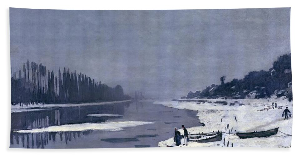 Claude Beach Towel featuring the painting Ice On The Seine At Bougival by Claude Monet