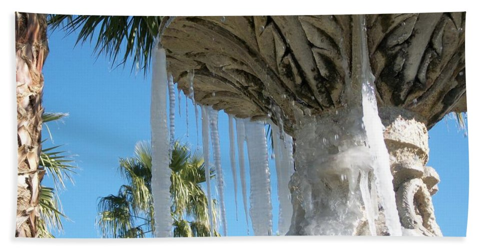 Color Photography By Heather J. Kirk And Photographic Artistry. Print On Photo Paper Beach Towel featuring the photograph Icicles In A Palm Filled Sky Number 1 by Heather Kirk
