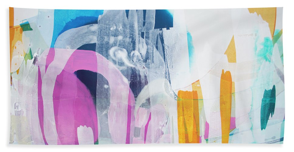 Abstract Beach Towel featuring the painting Icing On The Cake by Claire Desjardins