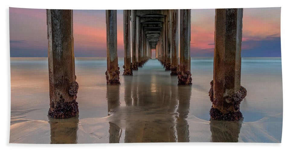 La Jolla Beach Towel featuring the photograph Iconic Scripps Pier by Larry Marshall