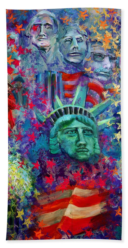 Liberty Beach Towel featuring the painting Icons Of Freedom by Peter Bonk
