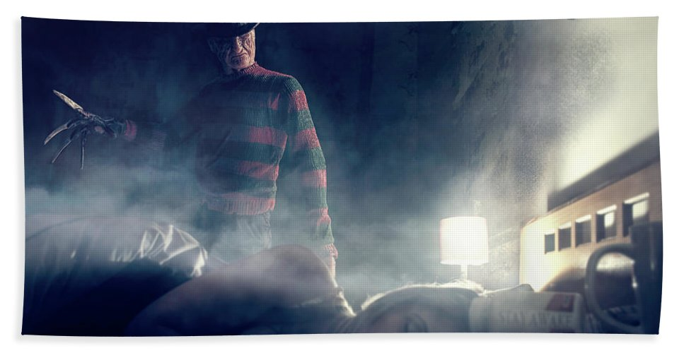 Beach Towel featuring the digital art Icons Of Horror Nightmare On Elm Street by Clinton Lofthouse