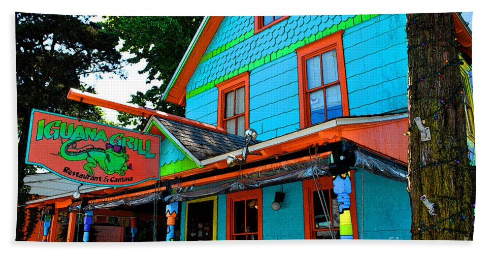 Rehoboth Beach Sheet featuring the painting Iguana Grill by Jost Houk