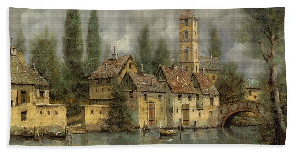 River Beach Towel featuring the painting Il Borgo Sul Fiume by Guido Borelli
