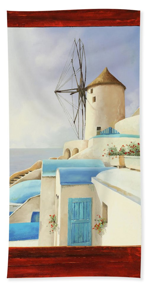 Windmill Beach Sheet featuring the painting Il Mulino Oltre La Finestra by Guido Borelli