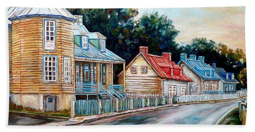 Ile D'orleans Beach Towel featuring the painting Ile D'orleans Quebec Street Scene by Carole Spandau